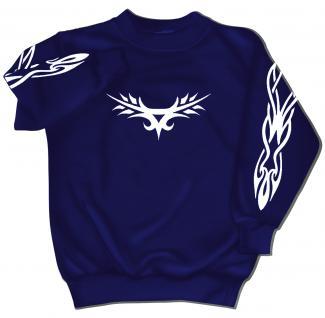 Sweatshirt mit Print - Tattoo - 09072 - vesch. farben zur Wahl - blau / 3XL