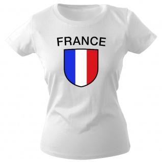 Girly-Shirt mit Print Fahne Flagge Wappen France Frankreich G73351 Gr. weiß / S