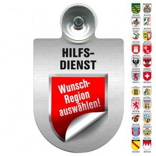 Einsatzschild Windschutzscheibe incl. Saugnapf - HILFSDIENST - 309796 Region Bayern