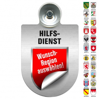 Einsatzschild Windschutzscheibe incl. Saugnapf - HILFSDIENST - 309796 Region Hessen