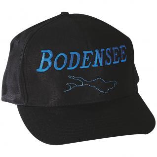 Sportcap mit Front-Druck - der Bodensee - 68156 schwarz - Baumwollcap Hut Schirmmütze Baseballcap Cappy Cap