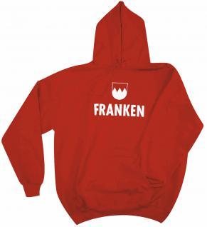Kapuzen-Sweater-Hoody unisex mit Print - Franken - 09022 rot - Gr. M