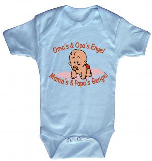 Babystrampler mit Print ? Oma´s und Opa´s Engel. Mamas und Papas Bengel- 08300 blau ? Gr. 0-6 Monate