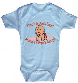 Babystrampler mit Print ? Oma´s und Opa´s Engel. Mamas und Papas Bengel- 08300 blau ? Gr. 6-12 Monate