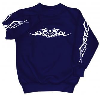 Sweatshirt mit Print - Tattoo - 09073 - versch. farben zur Wahl - blau / L