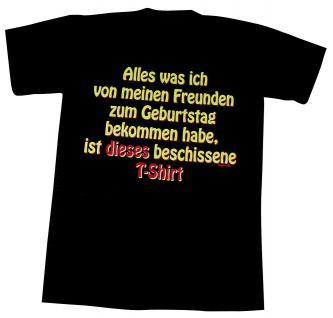 T-Shirt mit Print - ..Zum Geburtstag bekommen habe... - 09341 schwarz - Gr. S-XXL