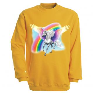 "Sweat- Shirt mit Motivdruck in 7 Farben "" Pegasus"" S12664 gelb / L"