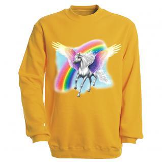 "Sweat- Shirt mit Motivdruck in 7 Farben "" Pegasus"" S12664 gelb / M"