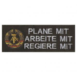 AUFNÄHER - DDR - Regiere mit - 01867 - Gr. ca. 12 x 4 cm - Patches Stick Applikation - Vorschau