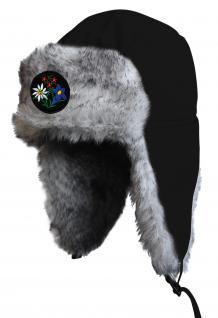 Chapka Fliegermütze Pilotenmütze Fellmütze in schwarz mit 28 verschiedenen Emblemen 60015-schwarz Enzian und Edelweiss