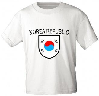 T-Shirt mit Print - Fahne Flagge Wappen Korea Republic Südkorea - 76438 weiß Gr. L