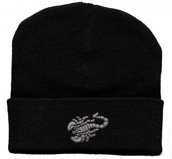 HIP-HOP Mütze Strickmütze mit Einstickung ? Skorpion - 56517 schwarz
