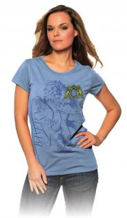 T-Shirt mit Print - Bayern Löwe Emblem - 10446 hellblau - Gr. L