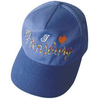 Baseball-Cap mit Stick - FLENSBURG - 68800 blau Cap Kappe Baumwollcap
