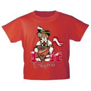 Kinder-T-Shirt mit Print - I love Austria - 12447 rot - Gr. 134/146