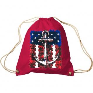 Sporttasche Turnbeutel Trend-Bag Print Maritim Anchor Anker USA Flagge TB12128 rot