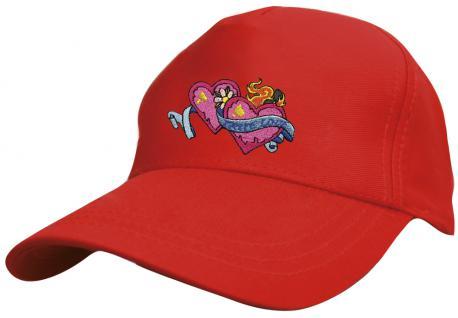 Kinder - Cap mit süssem Herzchen-Stick - Herzchen mit True Love ... wahre Liebe - 69131-1 rot - Baumwollcap Baseballcap Hut Cap Schirmmütze