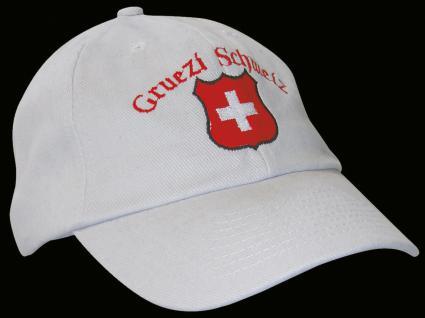 Baseballcap mit Switzerland - Einstickung - Gruezi Schweiz ... Schweizer Kreuz - 68148 weiss - Baumwollcap Hut Schirmmütze Cappy Cap