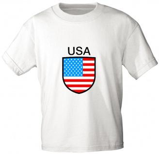 Kinder T-Shirt mit Print - USA - 76180 - weiß - Gr. 86-164