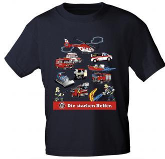 Kinder T-Shirt mit Print - Feuerwehr - DIE STARKEN HELFER - 08711 - schwarz - Gr. 92/98