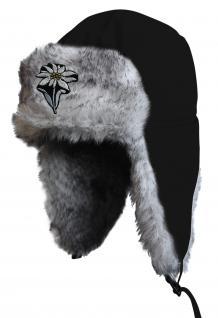 Chapka Fliegermütze Pilotenmütze Fellmütze in schwarz mit 28 verschiedenen Emblemen 60015-schwarz Edelweiss m. Stil