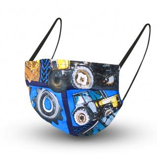 Design Maske aus Baumwolle mit zertifiziertem Innenvlies - Traktor Trekker - 15478 + Gratiszugabe