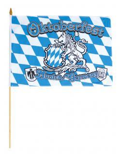 Deko-Fahne - Oktoberfest München - Gr. ca. 40x30cm - 07670 - Weiß-blaue Rauten-Flagge - Stockfahne