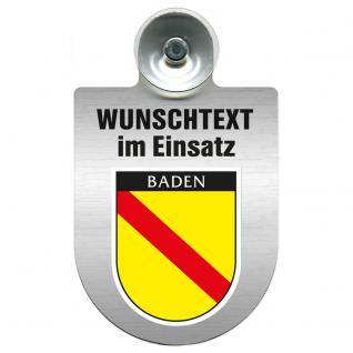 Einsatzschild für Windschutzscheibe incl. Saugnapf - Wunschtext...Eigener Text - Wappen nach Wahl - 309470 Region Baden