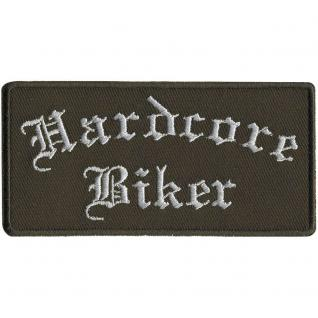 AUFNÄHER - Hardcore Biker - 01795 - Gr. ca. 8 x 2, 5cm - Patches Stick Applikation