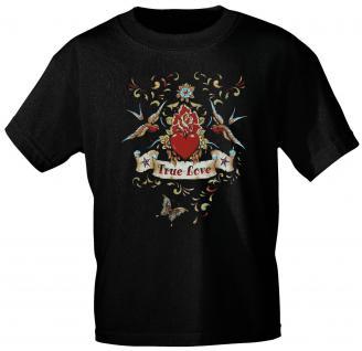 T-Shirt unisex mit Aufdruck - TRUE LOVE - 09377 schwarz - Gr. S-2XL