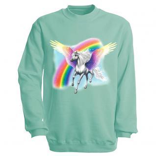"""Sweat- Shirt mit Motivdruck in 7 Farben """" Pegasus"""" S12664 L / türkis"""