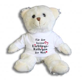 Teddybär mit Shirt - Für den besten Lieblings-Kollegen der Welt - Größe ca 26cm - 27176 weiß