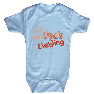 Babystrampler mit Print ? Opa´s Liebling - 08301 versch. Farben Gr. hellblau / 12-18 Monate