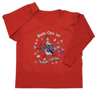 Kinder Sweatshirt mit Print - Mein Opa ist Tauben-Züchter - TB341 rot - 122/128