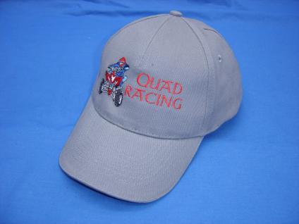Sportcap mit großer Bestickung - Quad racer Racing - 88652 grau - Baumwollcap Hut Schirmmütze Baseballcap Cappy Cap