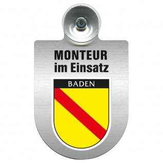 Einsatzschild Windschutzscheibe incl. Saugnapf - Monteur im Einsatz - 309741 Region Baden