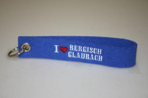 Filz-Schlüsselanhänger mit Stick - I love Bergisch Gladbach - Gr. ca. 17x3cm - 14307