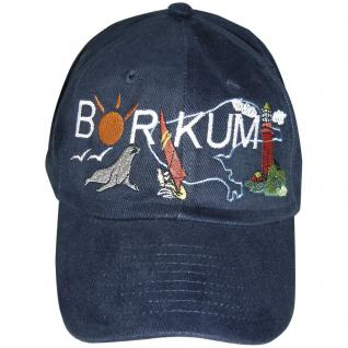 Cap - Schirmmütze aufwendig bestickt - Urlaub Freizeit - Borkum - 68870 schwarz - Baumwollcap Cappy Baseballcap Hut