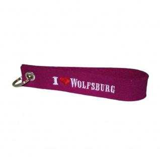 Filz-Schlüsselanhänger mit Stick I love Wolfsburg Gr. ca. 17x3cm 14332 rot