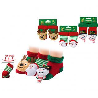 Erstlings- Rassel- Söckchen mit ABS und Weihnachtsmotiv Schneemann ONE SIZE 56906