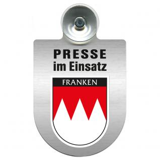 Einsatzschild Windschutzscheibe incl. Saugnapf - Presse im Einsatz - 309456-18 Region Franken