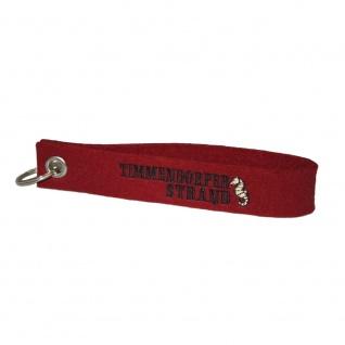 Filz-Schlüsselanhänger mit Stick Timmendorfer Strand Gr. ca. 17x3cm 14328 rot