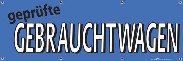 Banner Werbebanner - geprüfte Gebrauchtwagen - 3x1m - Spannband für Ihren Werbeauftritt / Bedruckt mit Ihrem Motiv - 309937