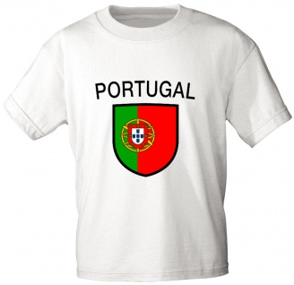T-Shirt mit Print - Wappen Fahne Flagge Portugal - 76433 weiß Gr. L