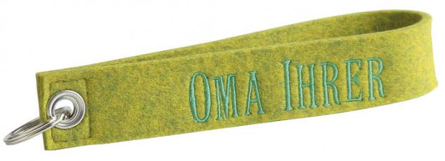 Filz-Schlüsselanhänger mit Stick Oma Ihrer Gr. ca. 17x3cm 14065 grün