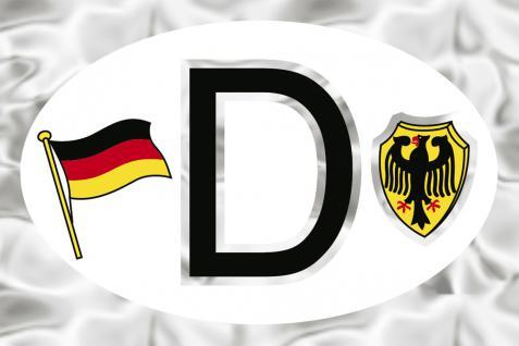 Alu-Qualitätsaufkleber oval - D = Deutschland Wappen Fahne - 301150 - Gr. ca. 102 x 66 mm