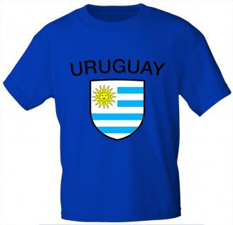 T-Shirt mit Print - Fahne Flagge Wappen Uruguay - 76479 royalblau Gr. L