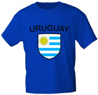 T-Shirt mit Print - Fahne Flagge Wappen Uruguay - 76479 royalblau Gr. M