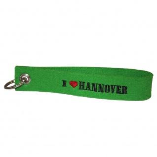 Filz-Schlüsselanhänger mit Stick I love Hannover Gr. ca. 17x3cm 14317 grün