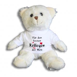 Teddybär mit Shirt - Für den besten Kollegen der Welt - Größe ca 26cm - 27175 weiß